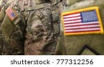 usa patch flag on soldiers arm | Shutterstock . vector #777312256