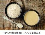 tahini  sesame paste with... | Shutterstock . vector #777315616