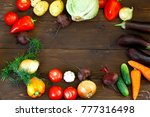 vegetables  on a dark wooden... | Shutterstock . vector #777316498