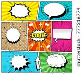 Comic book bright background with speech bubbles, arrow, blots, sound, rays and different halftone effects, funny radial and dotted backgrounds. Pop-art style. Vector illustration | Shutterstock vector #777316774
