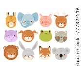 big set of cute cartoon animals....   Shutterstock .eps vector #777322516