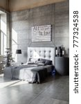 modern empty bedroom in loft... | Shutterstock . vector #777324538