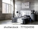 modern empty bedroom in loft... | Shutterstock . vector #777324550
