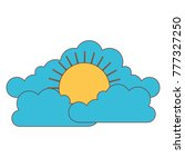 cloud cumulus and sun flat icon ...   Shutterstock .eps vector #777327250