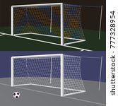 soccer goal with net. | Shutterstock .eps vector #777328954