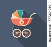 baby carriage flat square icon... | Shutterstock .eps vector #777334060