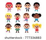 vector set of cute cartoon kids ... | Shutterstock .eps vector #777336883