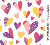hearts vector pattern. cute... | Shutterstock .eps vector #777338200