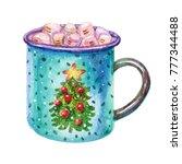 colorful watercolor coffee... | Shutterstock . vector #777344488