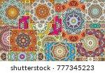 vector patchwork quilt pattern. ... | Shutterstock .eps vector #777345223