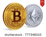 Bitcoin and Ethereum. 3D isometric Physical coins. Digital currency. Cryptocurrency. Golden and silver coins with bitcoin and ethereum symbol isolated on white background. Vector illustration. - stock vector