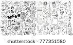 hand drawn food elements. set... | Shutterstock .eps vector #777351580