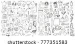 hand drawn food elements. set... | Shutterstock .eps vector #777351583