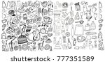 hand drawn food elements. set... | Shutterstock .eps vector #777351589