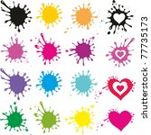 Set Of Colored Blots Isolated...