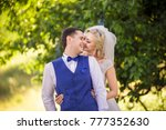 wedding couple smiling after... | Shutterstock . vector #777352630