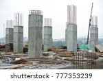 KUALA LUMPUR, MALAYSIA -DECEMBER 16, 2017: Reinforcement concrete column under construction at the construction site. Fabricated and constructed by workers.  - stock photo