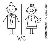 wc sign.toilet door plate icon. ... | Shutterstock .eps vector #777362200