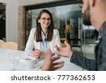 always smile at a job interview | Shutterstock . vector #777362653