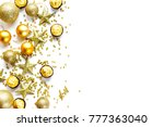 beautiful golden christmas toys ... | Shutterstock . vector #777363040