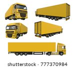 set large yellow truck with a...   Shutterstock . vector #777370984