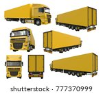 set large yellow truck with a... | Shutterstock . vector #777370999