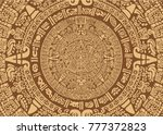 ancient mayan calendar. images... | Shutterstock .eps vector #777372823