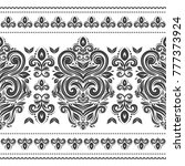 black and white floral seamless ... | Shutterstock .eps vector #777373924