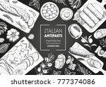 italian food top view. a set of ... | Shutterstock .eps vector #777374086