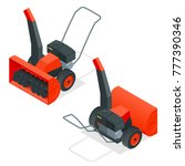 isometric snow thrower. cleans... | Shutterstock .eps vector #777390346