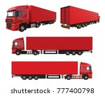 set large red truck with a... | Shutterstock . vector #777400798