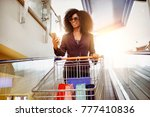 shopping afro hair woman with a ... | Shutterstock . vector #777410836
