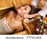 young woman getting massage in... | Shutterstock . vector #77741203