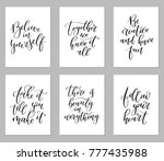 set of 6 calligraphy quotes.... | Shutterstock .eps vector #777435988