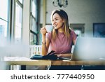 cheerful cute hipster girl with ... | Shutterstock . vector #777440950
