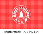 merry christmas stamp. merry... | Shutterstock .eps vector #777442114