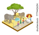 cage with elephants isometric... | Shutterstock .eps vector #777442654