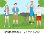 cartoon people on picnic with... | Shutterstock .eps vector #777444640