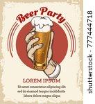 beer retro poster. drink party... | Shutterstock .eps vector #777444718