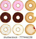 frosted  sprinkled and plain... | Shutterstock .eps vector #777446158