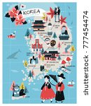korea travel map  lovely flat...   Shutterstock .eps vector #777454474