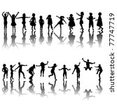 hand drawn children silhouettes ... | Shutterstock .eps vector #77747719