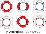 multiple colored life rings | Shutterstock .eps vector #77747977