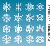 Snowflakes Vector Set On A Blu...