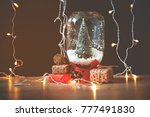 christmas tree in jar with snow ... | Shutterstock . vector #777491830