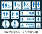 toilet icons and restroom signs   Shutterstock .eps vector #777502330