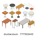 various kind of isometric table ... | Shutterstock .eps vector #777503443