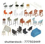 various kind of isometric chair ... | Shutterstock .eps vector #777503449