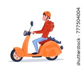 young guy riding electric... | Shutterstock .eps vector #777504004