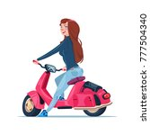young girl riding electric... | Shutterstock .eps vector #777504340